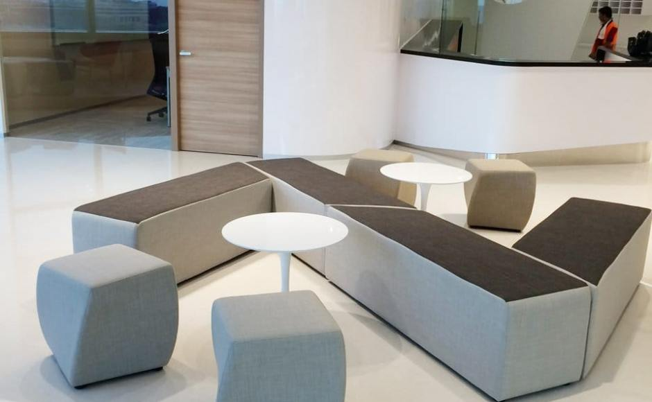 Office - Fusionopolis Innovis | Products Seen: [Megan Coffee Table, Point Bench & Cuba Stool]